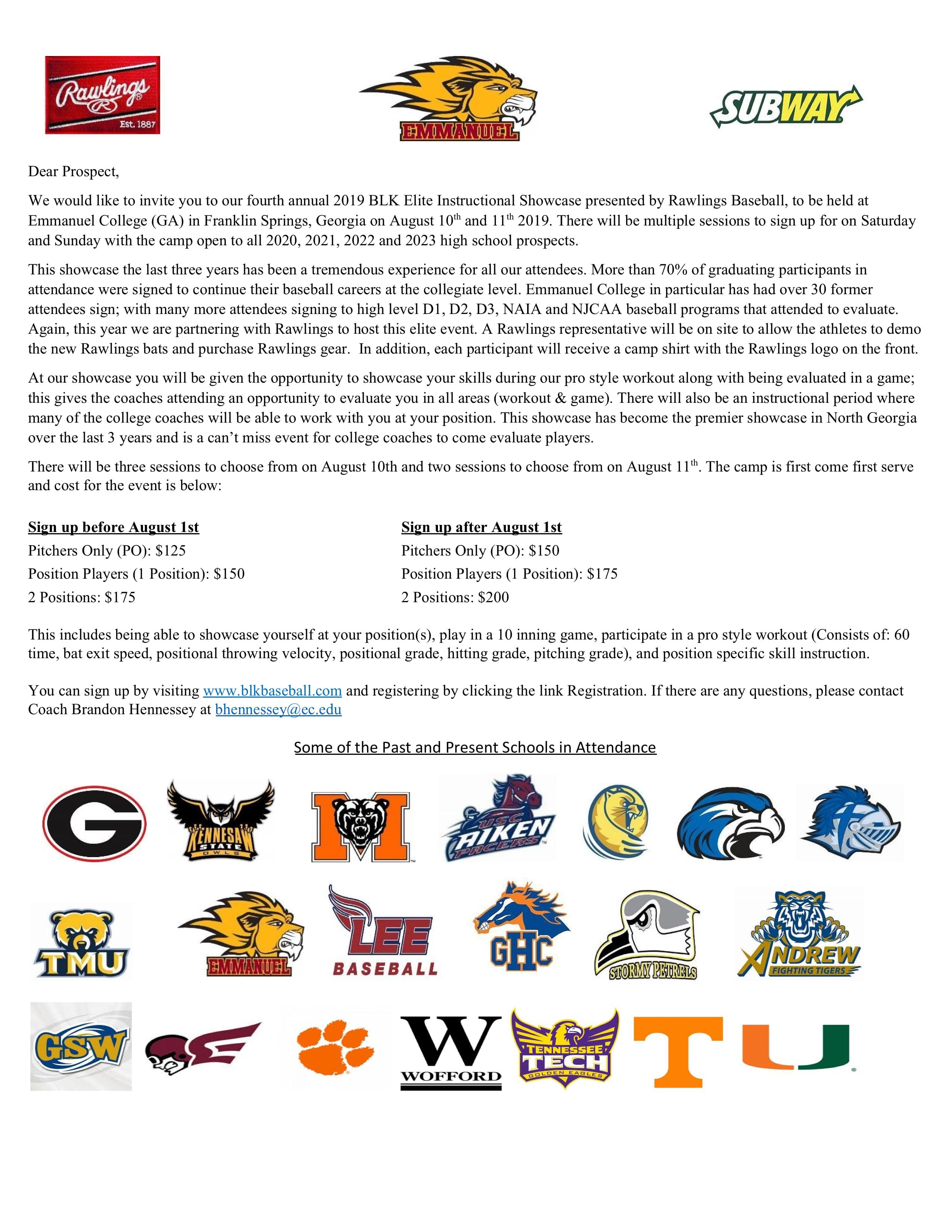Camp Details | BLK Baseball